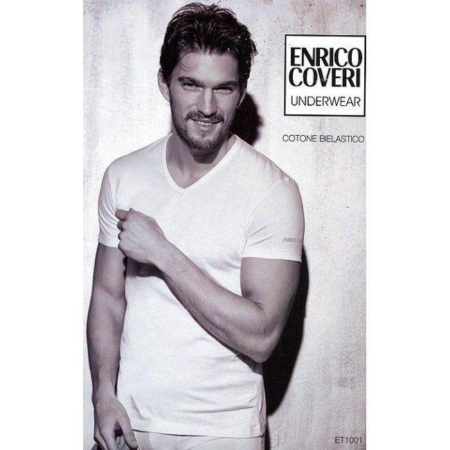 T-shirt scollo a V ET1001 Enrico Coveri
